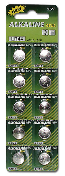 Button alkaline batteries LR44/AG13